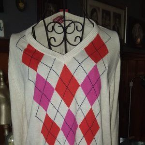 Merona pink black argyle sweater
